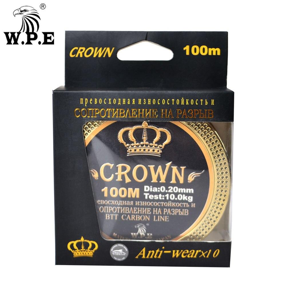 W.P.E Brand Crown 100m 100% Fluorocarbon Coating Fishing Line 0.20mm-0.60mm 10KG-41KG Carp Fishing Carbon Fiber Fishing Tackle