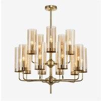 Пост современный Стекло оттенков Позолоченные люстра E14 светодио дный лампа Luxury Art подвеска осветительное оборудование Luminaria Lampara