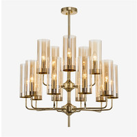 Post Modern Glass Shades Gold Plated Chandelier E14 Led Bulb Light Lamp Luxury Art Suspension Lighting Fixture Luminaria Lampara