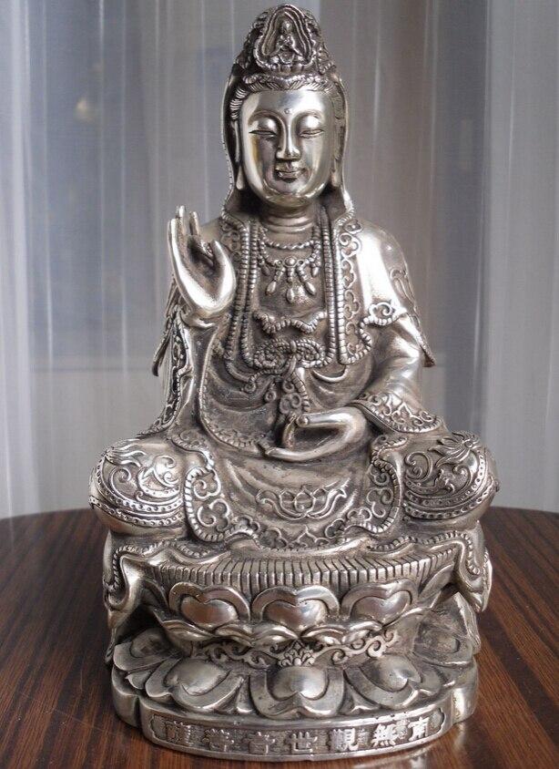 free shipping 008570 Tibetan Buddhist bronze cated silver Kwan Kuan Guan Yin Buddha statue nice look ds 11 china bronze gilded guanyin bodhisattva comfortable kwan yin buddha statue