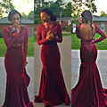 2017 Burgundy Velvet Bridesmaid Dresses Lace Appliques Beaded Long Sleeves Backless Arabic Formal Prom Party Bridesmaid Gowns