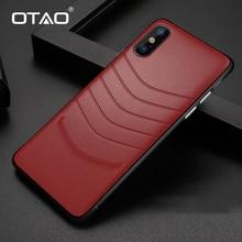 OTAO עור עמיד הלם מקרה עבור iPhone 8 7 בתוספת 6 6s פגוש אחורי כיסוי עבור iPhone X XS מקסימום XR מוצק צבע מקרי רך קצה Coque
