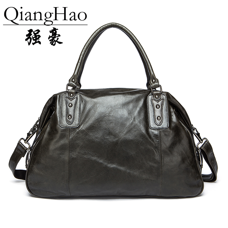 QiangHao Vintage Retro Look 100% Genuine Leather Travel Bag Men Duffle Bag large Capacity Bag vintage retro 100
