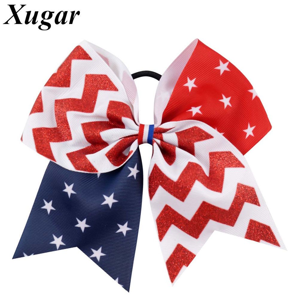 7 Flag Cheer Bow Red Blue Ribbon With White Stars Large