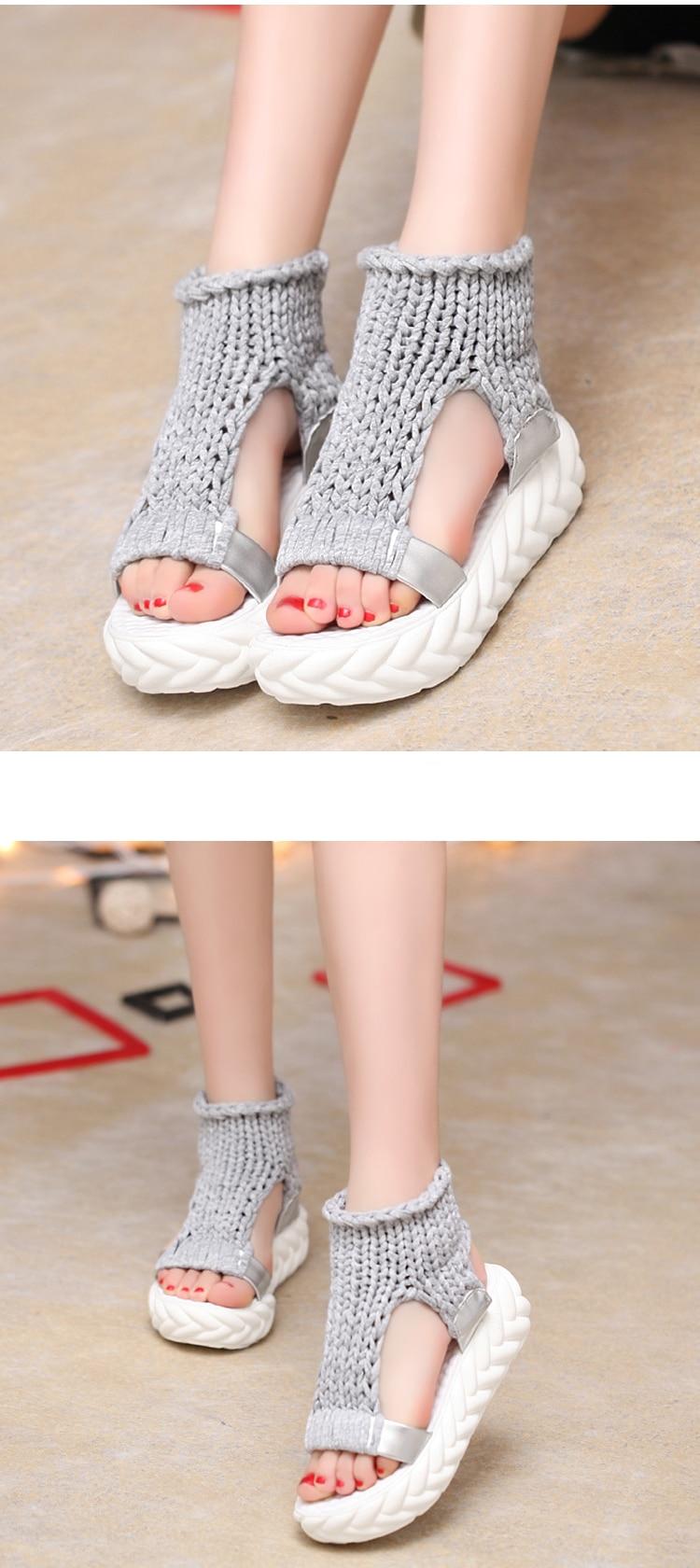 2019 New Casual Summer Shoes Women Comfortable Wool Ladies Platform Sandals Knit High Heels Grey Rose Red Sandales