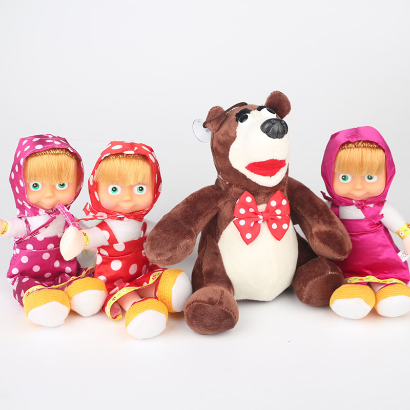Soft Lovely Doll Masha And The Bear Russia Comedy Child Cotton Animation 23CM Plush Toys Send Child Gift human comedy the