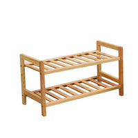 2 Tier Solid Wood Shoe Cabinet Shoe Shelf Simple Shelf Flower Rack
