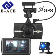 E-ACE 3.0 Inch GPS Car Dvr Full HD 1080P Video Recorder Night Vision Mini Camera Rear View Mirror Auto Dashcam Dual GPS Tracker