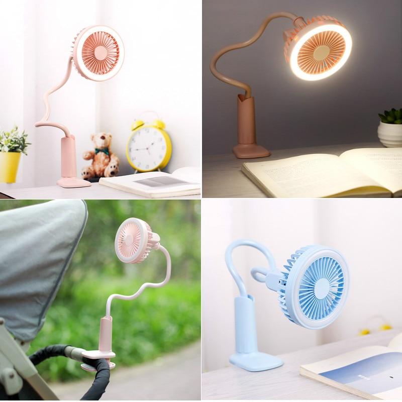 2in1 USB Перезаряжаемые Портативный светодиодный вентилятор настольная лампа 360 градусов регулируемый светодиодный ночник глаз-забота прикро... ...