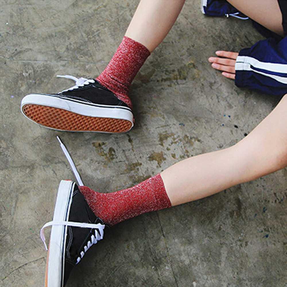 คุณภาพสูงผู้หญิง Glitter ถุงเท้าแฟชั่นเงาข้อเท้าถุงเท้าฤดูใบไม้ร่วงฤดูใบไม้ผลิ Harajuku สั้นถุงเท้าสั้นผู้หญิงชุดชั้นใน
