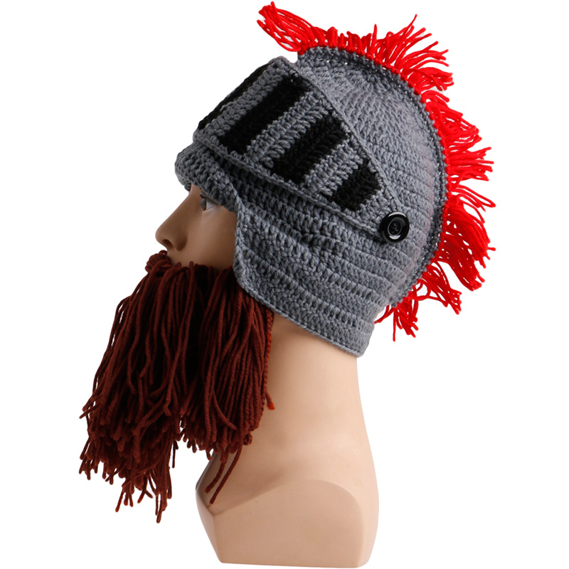 Tassel Cosplay Roman Knight Knit Helmet Mens