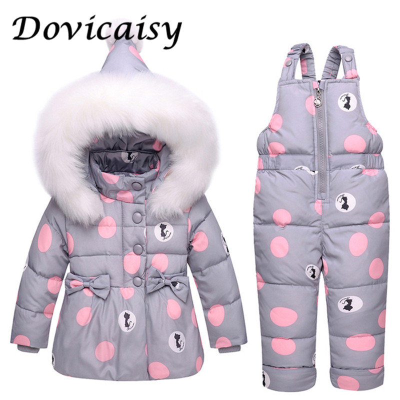 все цены на Infant Baby Winter Coat Snowsuit Duck Down Toddler Girls Winter Outfits Snow Wear Jumpsuit Bowknot Polka Dot Hoodies Jacket