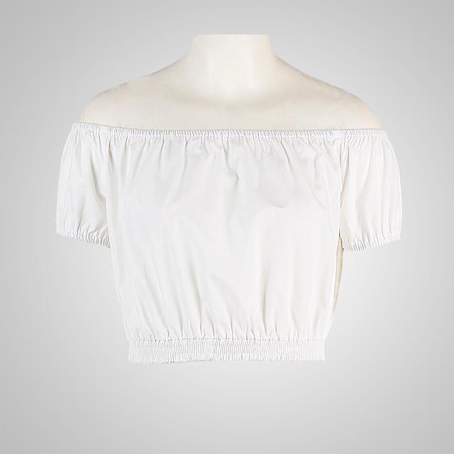 ed8301d319b CandowLook Brand 2017 Women Slash Neck Crop Top White Sexy Hot Short Blouse  Off Shoulder Cute Midriff Low Back Cause Tee Shirt