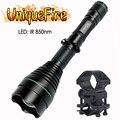 UniqueFire 1508 IR 850NM светодиодный зум 3 режима регулируемый фонарик 50 мм выпуклая линза ночного видения факел с QQ07 крепление