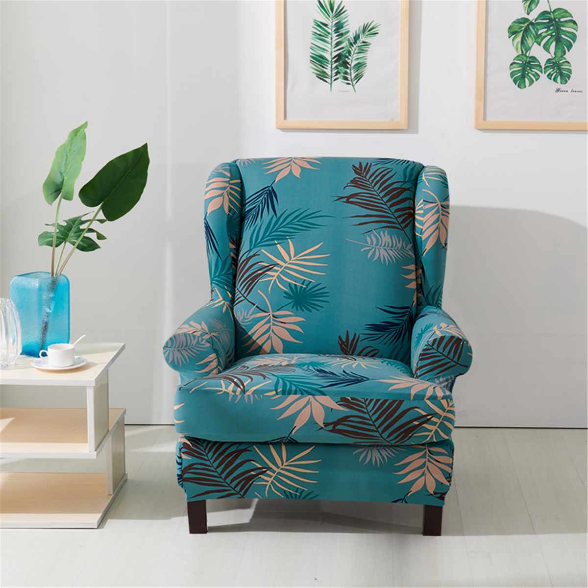 Stretch King Back Chair Cover Flower Printed Elastic Armchair Wingback Chair Cover Protector Slipcover Protector For Room Sofa Chair Covers For Dining