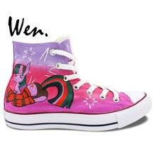 Wen Design Custom Hand Painted Shoes Little Horse Twilight Sparkle Purple Butt Women's High Top Canvas Sneakers