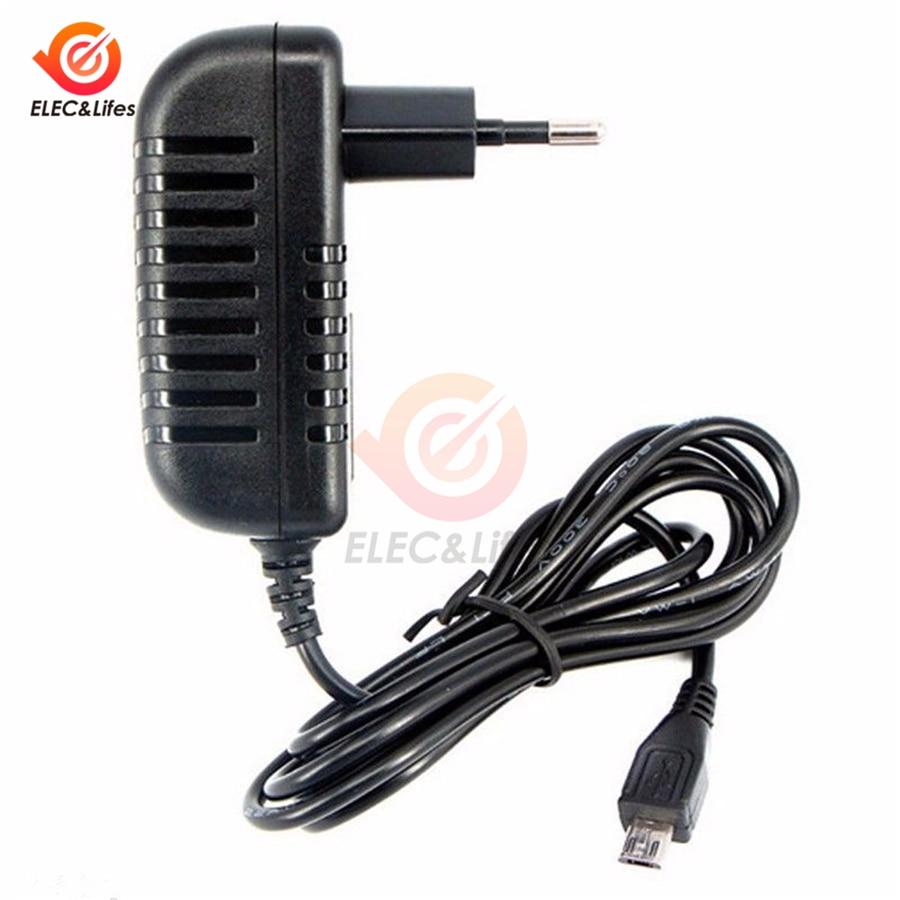 Адаптер питания Micro USB 5 В, 3 а, с адаптером для зарядки, с европейской вилкой, конвертер для переключения питания, светодиодная лента