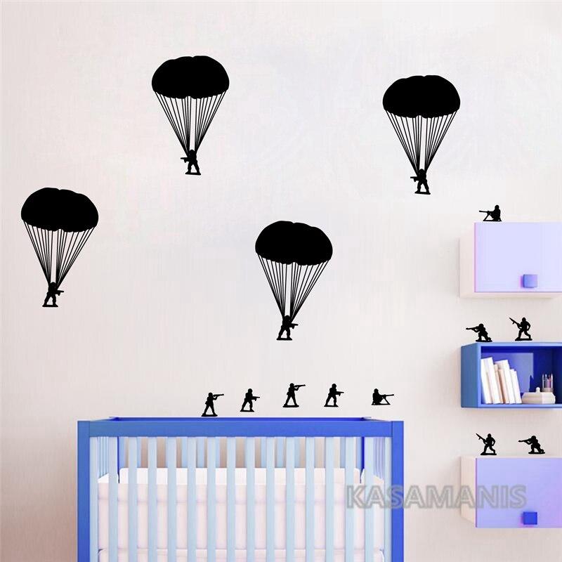Army Men Bucket of Soldiers Paratroopers Wall Art Decals Funny Kids Boy Vinyl Art Stickers For Schools Baby Nursery Decoration line art