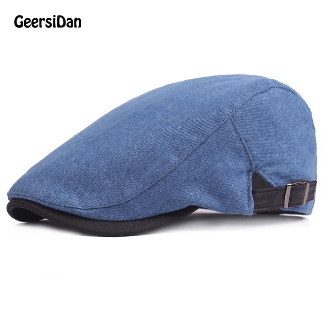 2017 New design newsboy beret caps men s women s fashion washed denim hat  octagonal cap Spring Autumn beret hats for women men ddb324d504f0