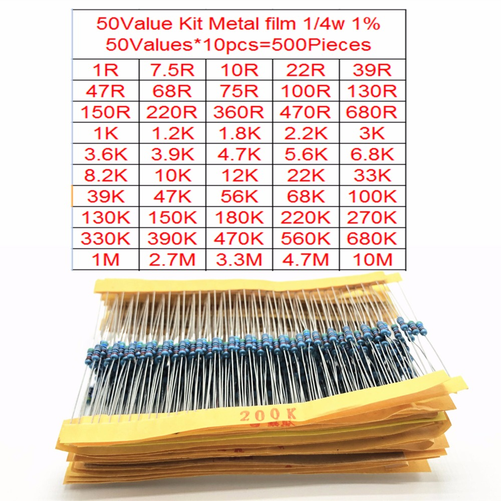1//4w 1/% 130 Value Resistors Kit Metal Film Resistor Assortment Set 0.25W 1300pcs