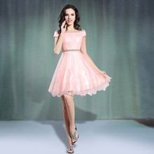 Boot-ausschnitt Kurze Tüll Abendkleid Mit Kurzen Ärmeln 2017 Perlen Abendkleider Neue Robe De Soiree