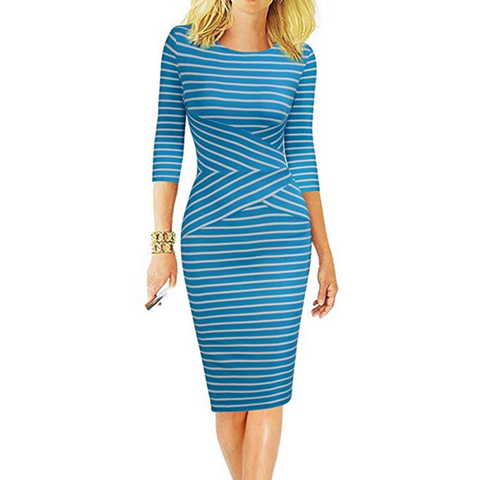REPHYLLIS <font><b>Women</b></font> 3/4 Sleeve Striped Summer Work Business Cocktail Party Office Casual <font><b>Bodycon</b></font> <font><b>Sexy</b></font> <font><b>Dress</b></font> image