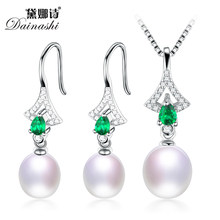 Amazing Price Green Zircon Pearl Jewelry Set( Genuine AAAA Pearl Earrings And Necklace)For Women's Fine Love Wish Pearl Jewelry(China)