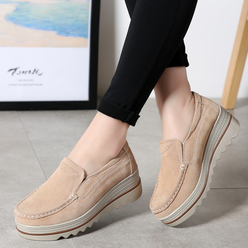 Women Flat Platform Shoes Casual Loafers Hollow Slip On Shoes Cow   Suede     Leather   Woman Flats New Summer Sneakers Moccasins
