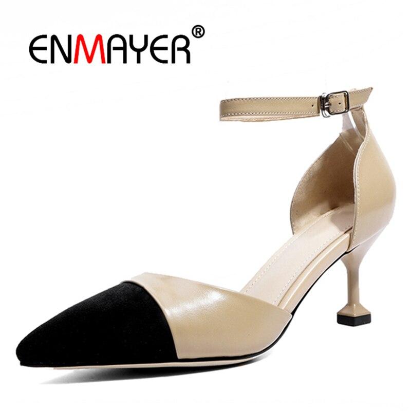Chaussures Conception Souliers Femmes Enmayer En Gray Hauts Cuir Cr824 Bureau Femelle Patchwork Européenne La apricot Talons Véritable Cheville Bride À Pdfwg8qnwE