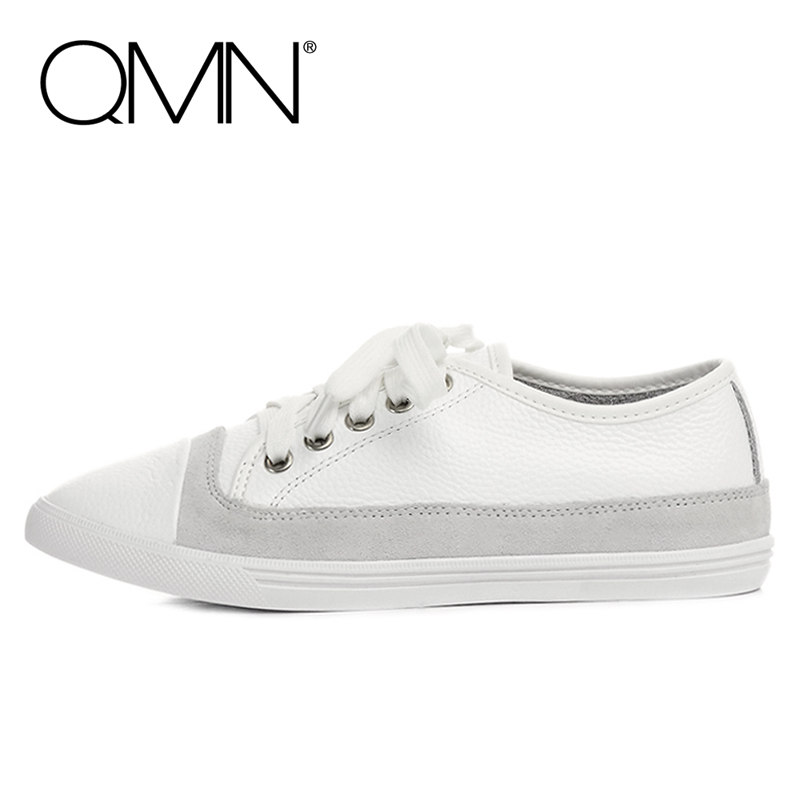 QMN women genuine leather flats Women Natural Suede Paneled Lace Up Leisure Shoes Woman Flats qmn women crystal embellished natural suede brogue shoes women square toe platform oxfords shoes woman genuine leather flats