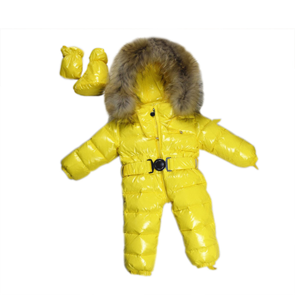 -30 Baby Snowsuits Jumpsuit Russia Winter Clothing Warm Coats Snow Wear Down Jacket For Boys Girls Kids Clothes Infantil Rompers baby snowsuits hooded jumpsuit white duck down jackets for boys girls winter snow coats kids clothes infantil thicken rompers