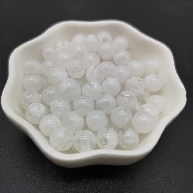 6, 8, 10 мм, Имитация натурального камня, круглые акриловые бусины с эффектом облаков, бусины для изготовления ювелирных изделий, браслет, ожерелье, аксессуары DIY - Цвет: 01-White