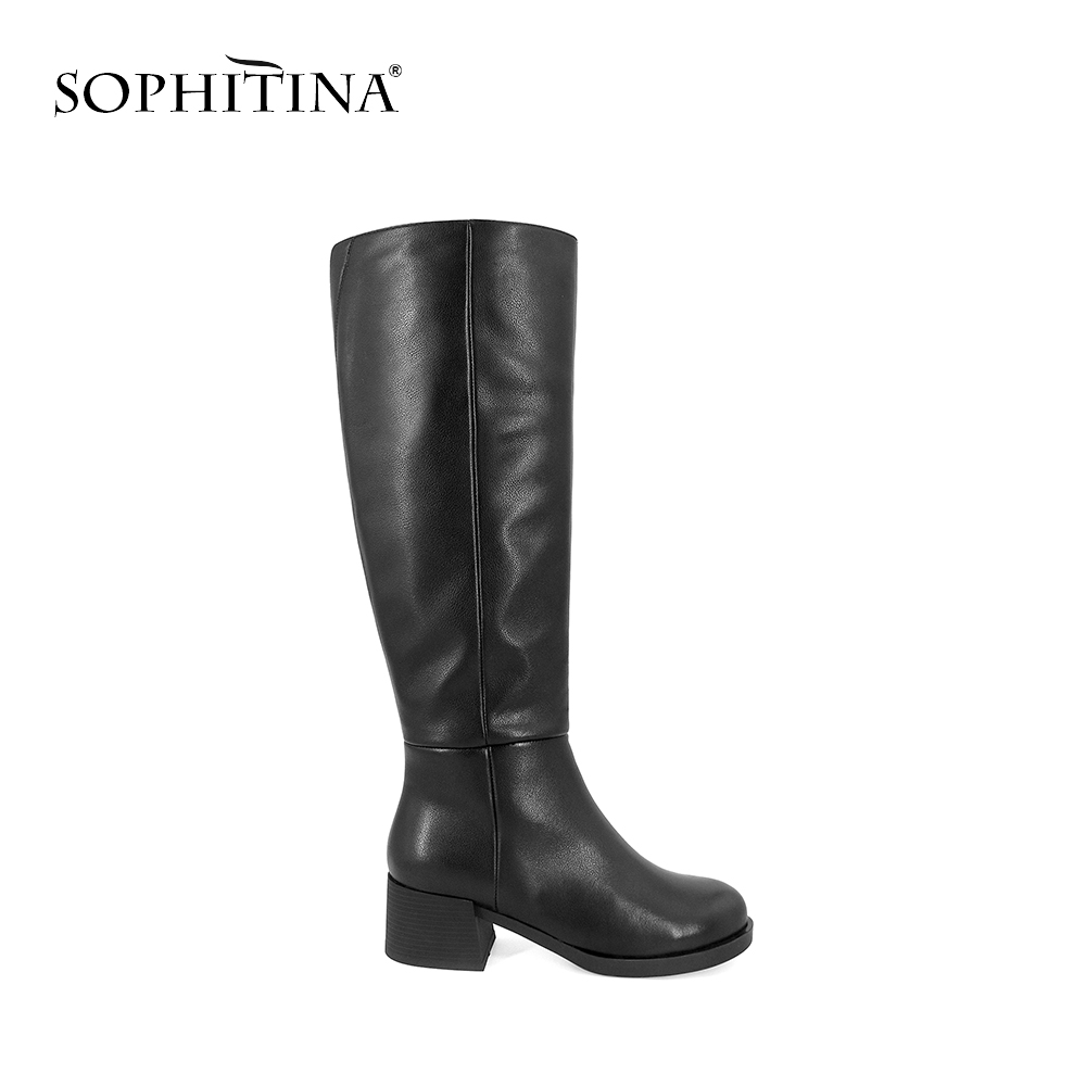 SOPHITINA New 2019 Boots Elegant Round Toe High Heel Knee High Shoes Quality Genuine Leather Warm