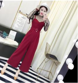 TUHAO 2018 Spring SUMMER Women Sexy Overalls Plus Size Wide Leg Jumpsuits Slim Solid Simple Pockets Defined Sashes Rompers MS58