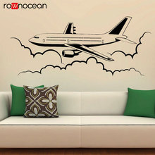 Airplane Wall Vinyl Decal Airliner Aviation Stickers Interior Housewares Design Bedroom Home Decor Removable Murals 3449