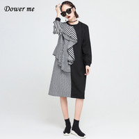 Spring High Street Women Patchwork Black Striped Dress Vestidos Ladies Ruffles Dresses Female Loose Frocks Plus