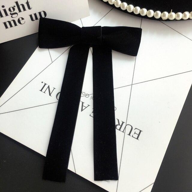 Новые женские Броши Шпильки большой черный с бантом из ленты; сладкий корсаж длинный лук галстук Брошь Модные украшения рубашка Интимные аксессуары