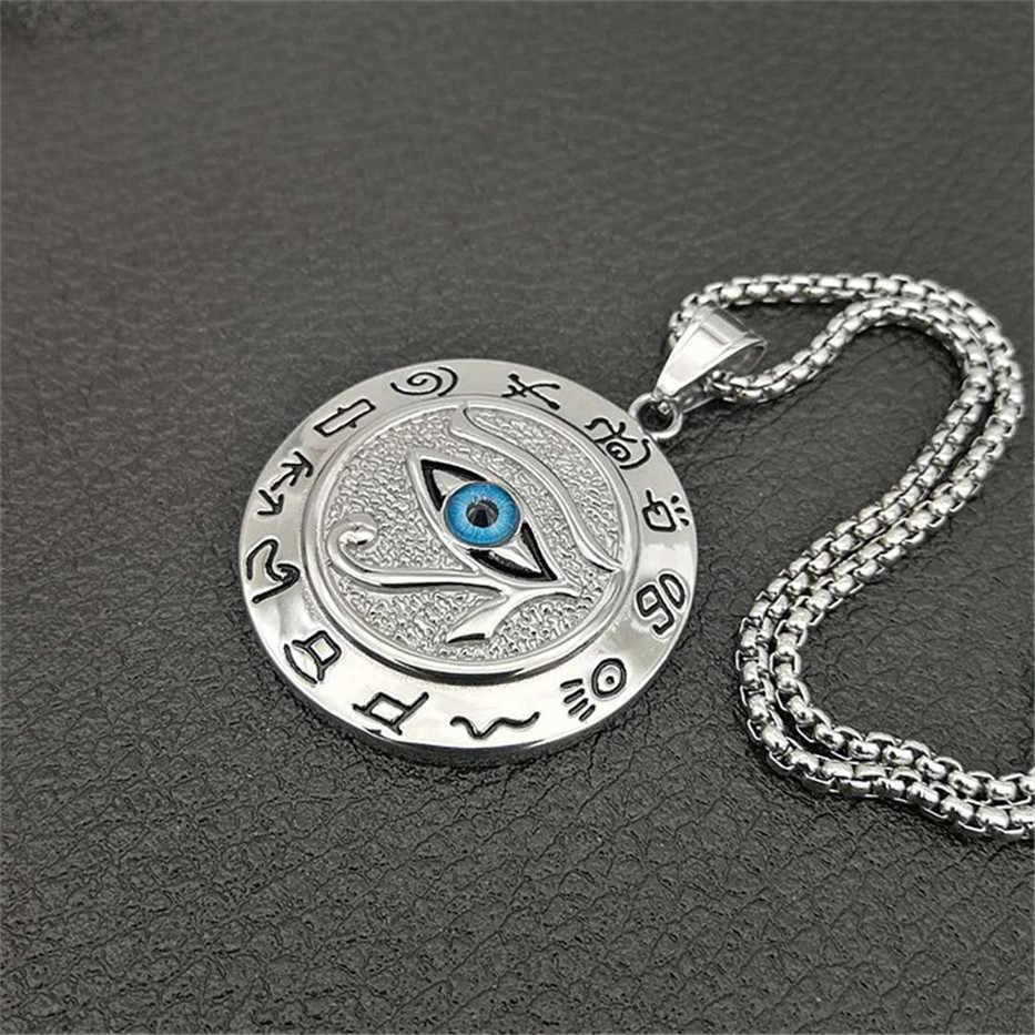 Egipski oko horusa naszyjnik dla kobiet/mężczyzn odsprzedaż złoty naszyjnik ze stali nierdzewnej złe oczy egipt okrągły biżuteria