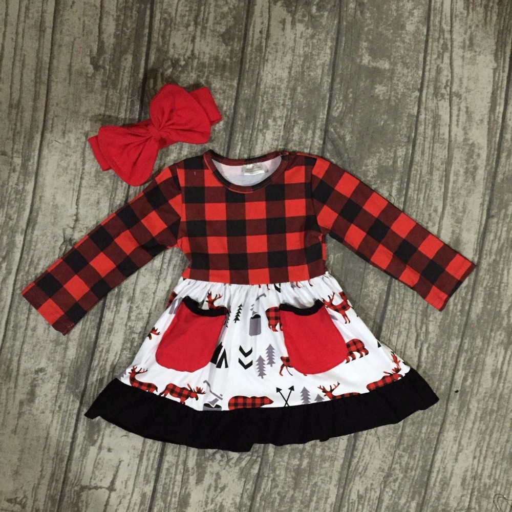 Christmas fall/winter baby girls clothes children red black plaid reindeer moose pocket cotton ruffle boutique outfits match bow