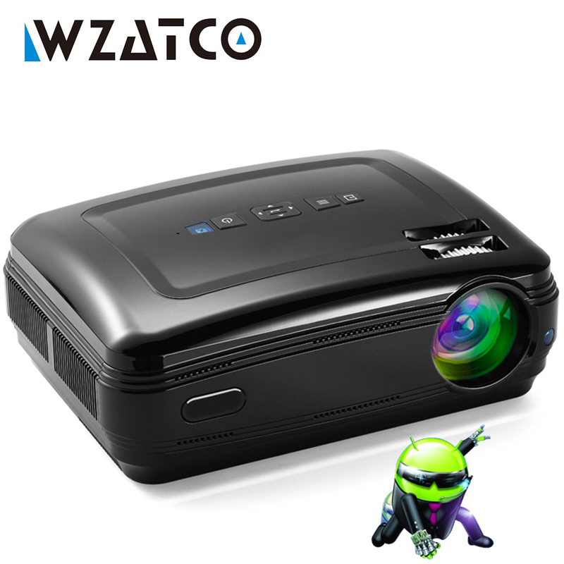 WZATCO CTL60 3D Projecteur Mise À Niveau Android 7.1 WiFi 5500 Lumens Full HD 1080 p 4 k Multimédia LED Proyector Beamer pour Home Cinéma