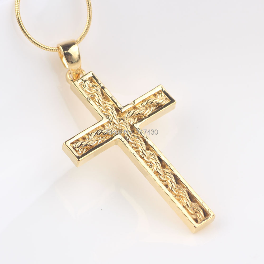 Womens mens 24k solid yellow gold filled cross pendant necklace womens mens 24k solid yellow gold filled cross pendant necklace chain with twistted desin in the cross in pendants from jewelry accessories on aloadofball Images