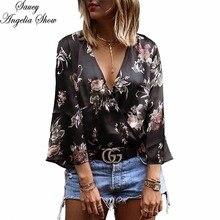SAUCY ANGELIA Women T Shirt Sexy Fashion Deep V Black Print Spring Summer Tops Crops Femme Casual Tees XXL