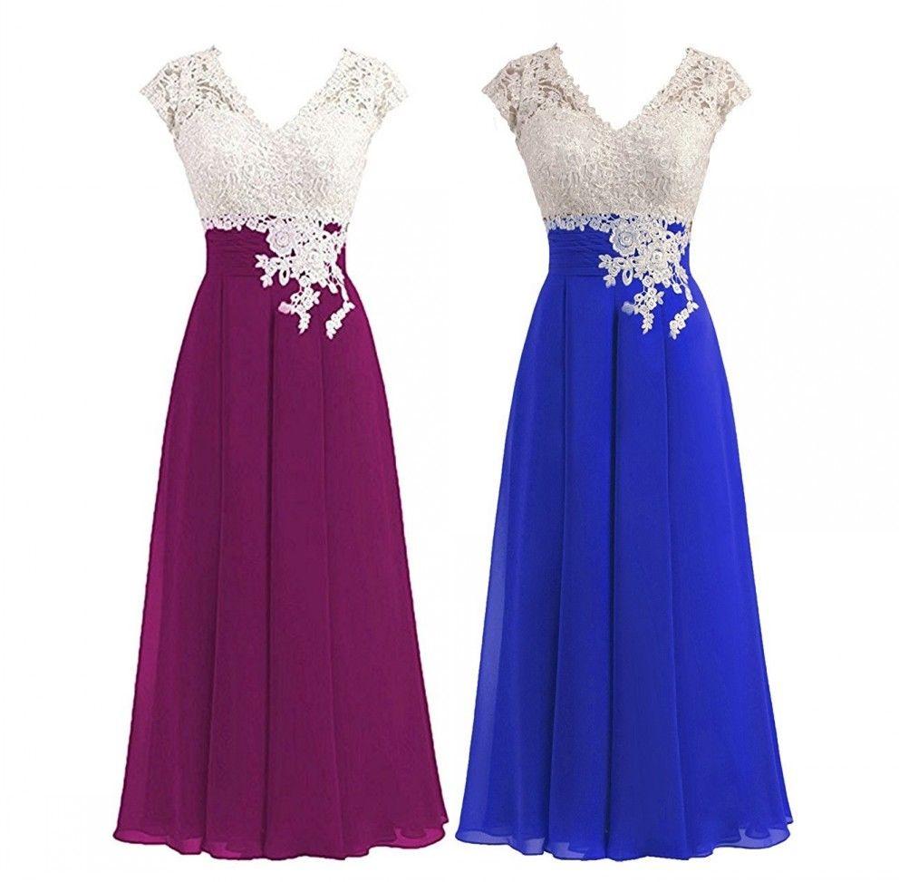 Plus size A Line Chiffon Lace Applique V Neck Cap Sleeve Formal Mother of the Bride Dresses Tea Length