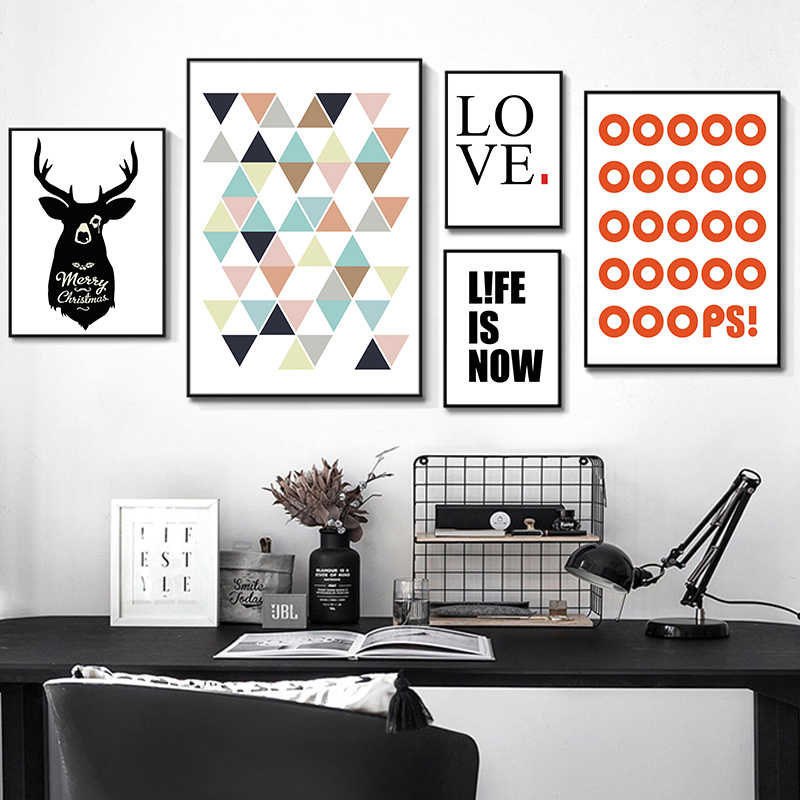 Fashion Nordic Poster Art Prints Wall Picture Canvas Painting Deer Canvas Art Print Home Decor Wall Pictures Decorative Painting