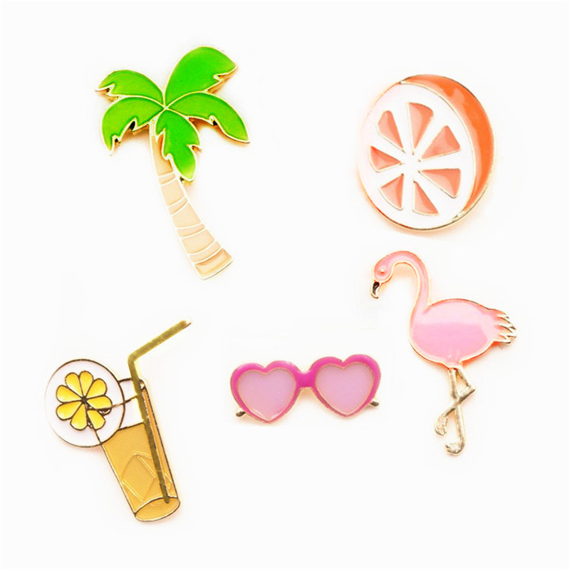 kokoerNew Arrive Cute Metal Poached Brooch enamel palm tree flamingo citrus orange juice glasses Pins fashion jewelry accessorie