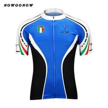 Велосипеды Джерси Мужчины синий Италия Pro команды одежда велосипед одежда nowgonow Топы Дорога Горный Триатлон Лето Майо Ciclismo
