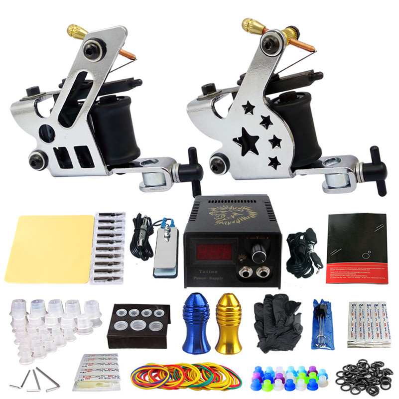 Beauty Tattoo Set Coil Tattoo Machine Tattoo Guns Liner Shader Power Supply Needles Tips Grips Tattoo Artist europe god of darkness robert recommend gp self lock grips gp3 professional tattoo artist grip