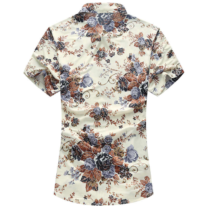 QUANBO 新到着夏カジュアルシャツ男性ブランド服メンズ花半袖プラスサイズ M-6XL 7XL カミーサ masculina