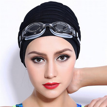 Swimming Caps Long Hair Swim Cap Pleated Cloth Fabric Bathing Hats Lycra Beanie Hat for Adult Men Women