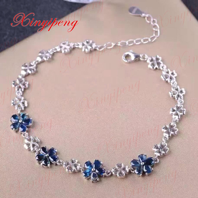 925 sterling silver with 100% natural sapphire bracelet  women with Luxury and generous A wedding gift